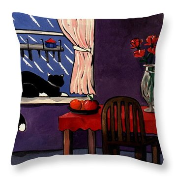 Kitty Over Manhattan Throw Pillow by Lance Headlee
