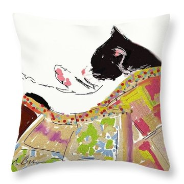 Kitty Sleeping Under Quilt Throw Pillow by Carol Berning