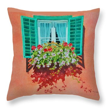 Throw Pillow featuring the painting Kitzbuhel Window by Mary Ellen Mueller Legault