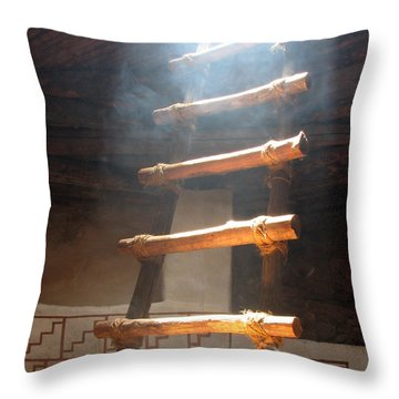 Throw Pillow featuring the photograph Kiva Ladder by Marcia Socolik