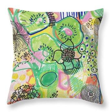 Kiwi Abstract Throw Pillow