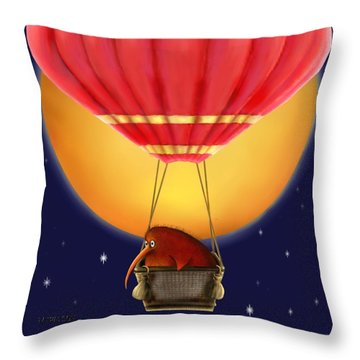 Kiwi Bird Kev. Fly Me To The Moon Throw Pillow