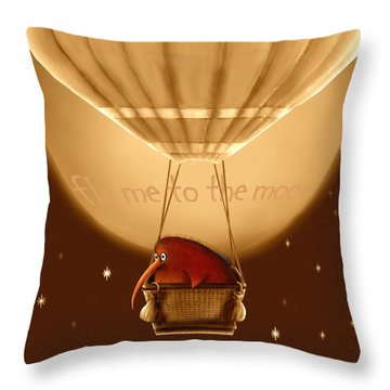 Kiwi Bird Kev - Fly Me To The Moon - Sepia Throw Pillow