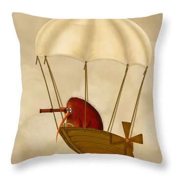 Kiwi Bird Kev's Airship Throw Pillow