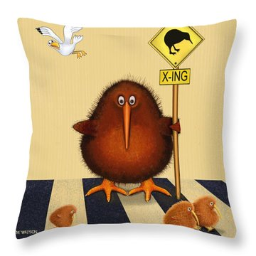 Kiwi Birds Crossing Throw Pillow