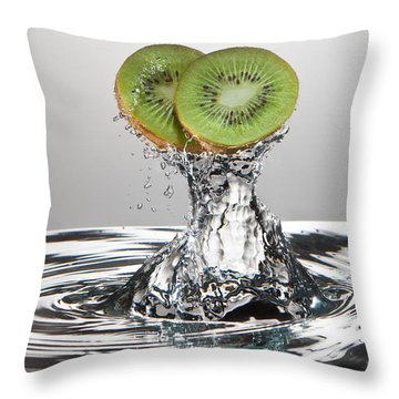 Kiwi Freshsplash Throw Pillow by Steve Gadomski