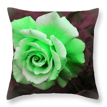 Kiwi Lime Rose Throw Pillow by Barbara Griffin