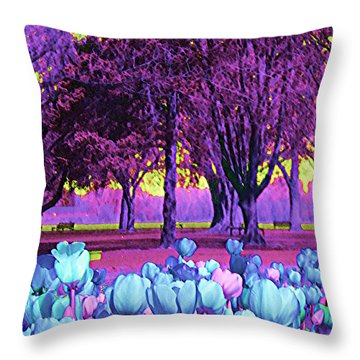 Throw Pillow featuring the photograph Kiwi Sky With Tulips by Ann Johndro-Collins