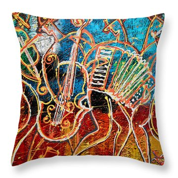 Klezmer Music Band Throw Pillow