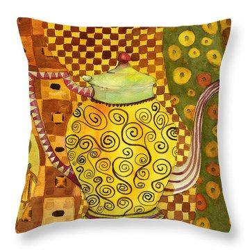 Klimt Style Teapot Blenda Studio Throw Pillow by Blenda Studio