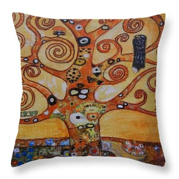 Throw Pillow featuring the painting Klimt Tree Of Life by Diana Bursztein