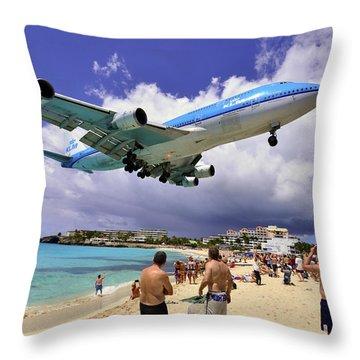 Klm Landing At St Maarten 2  Throw Pillow