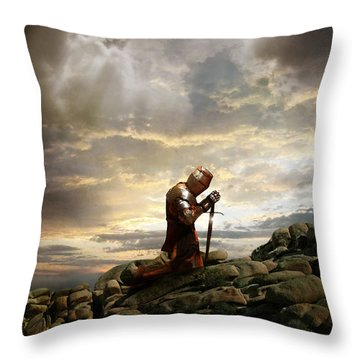 Kneeling Knight Throw Pillow
