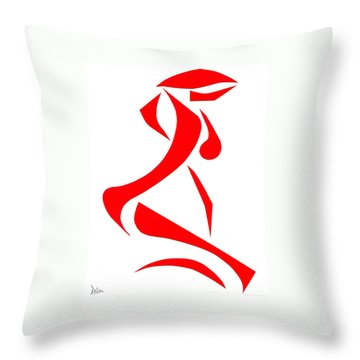 Kneeling Nude Throw Pillow by Delin Colon