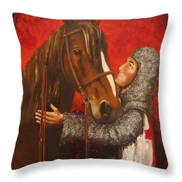 Knight And Horse Throw Pillow