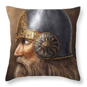 Throw Pillow featuring the painting Knight by Arturas Slapsys