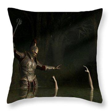 Knight In A Haunted Swamp Throw Pillow by Daniel Eskridge