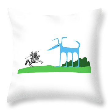 Knight With Armor And Cartoon Dog Facing Each Throw Pillow