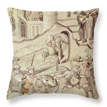 Knights Jousting Throw Pillow by Bohemian School