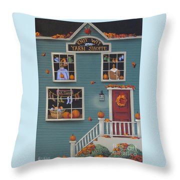Knit Wit Yarn Shoppe Throw Pillow by Catherine Holman