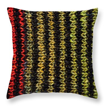 Throw Pillow featuring the photograph Knitted Striped Scarf by Les Palenik