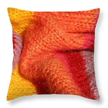 Knitted Textile Throw Pillow by Kerstin Ivarsson
