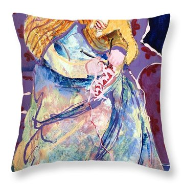 Knitting With Kitty Throw Pillow by Marilyn Jacobson