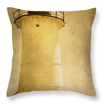 Knobska Point Light Lighthouse Woods Hole Ma Throw Pillow by Suzanne Powers