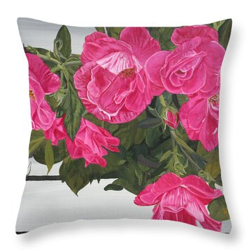 Knock Out Roses Throw Pillow by Wendy Shoults