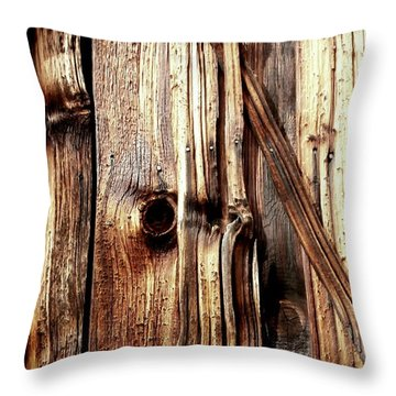 Knotty Wood Grain Throw Pillow