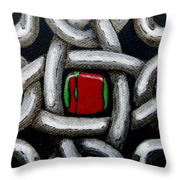 Knotwork With Gem Throw Pillow