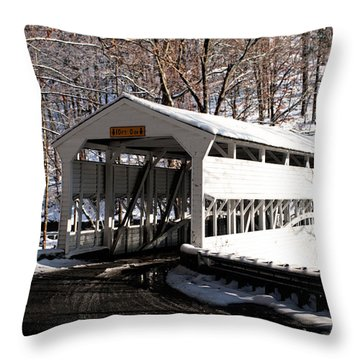 Knox Bridge In The Snow Throw Pillow