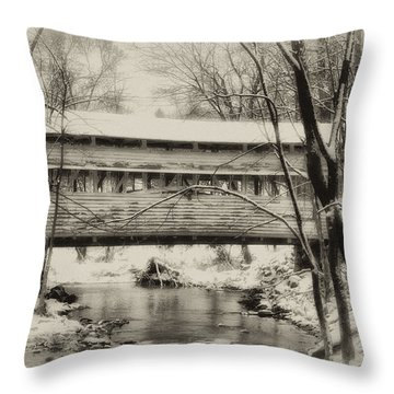 Knox Valley Forge Covered Bridge Throw Pillow by Bill Cannon