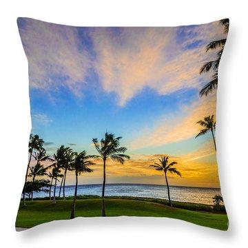 Ko Olina Cloudy Sunset Throw Pillow