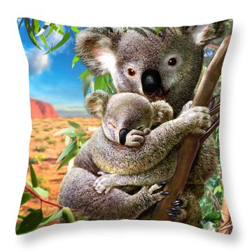 Koala And Cub Throw Pillow by Adrian Chesterman