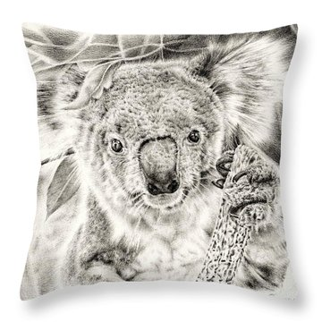 Koala Garage Girl Throw Pillow