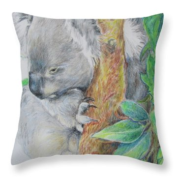 Koala Nap Time Throw Pillow
