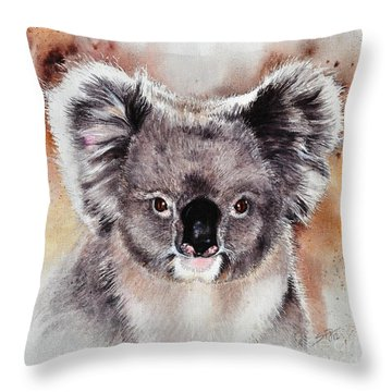 Throw Pillow featuring the painting Koala  by Sandra Phryce-Jones