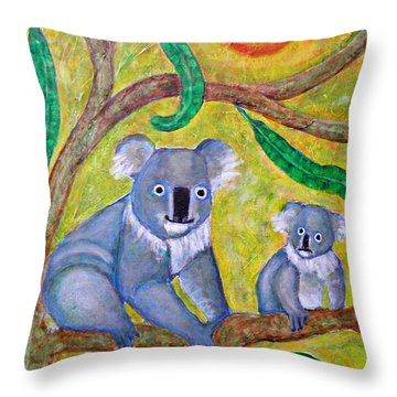 Koala Sunrise Throw Pillow by Sarah Loft