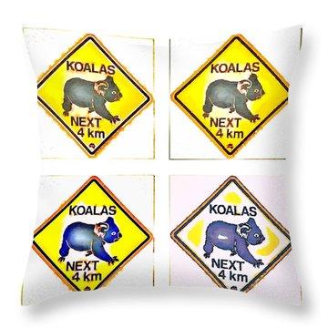 Koalas Road Sign Pop Art Throw Pillow
