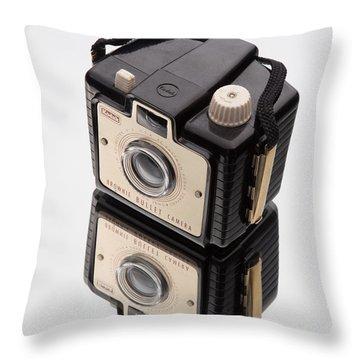 Kodak Brownie Bullet Camera Mirror Image Throw Pillow by Edward Fielding