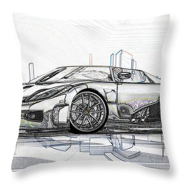 Koenigsegg Ccx Sketch  Throw Pillow by Louis Ferreira