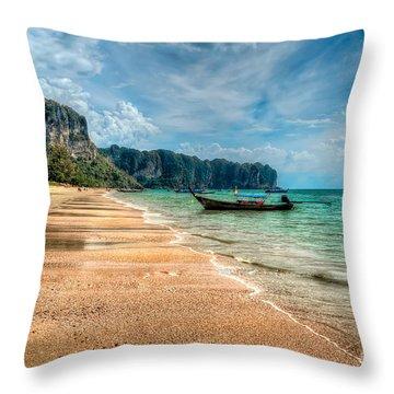 Koh Lanta Beach Throw Pillow by Adrian Evans