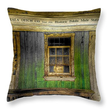 Kohala Mule Station Throw Pillow