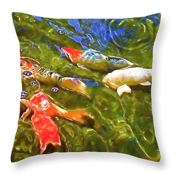 Koi 1 Throw Pillow by Pamela Cooper