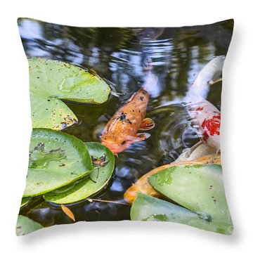Koi And Lily Pad Throw Pillow by Jamie Pham
