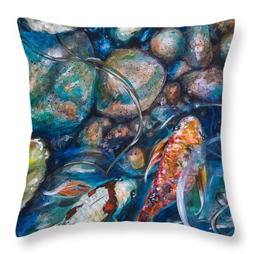 Throw Pillow featuring the painting Koi And Rocks by Linda Olsen