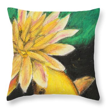 Throw Pillow featuring the painting Koi And The Lotus Flower by Jeanne Fischer