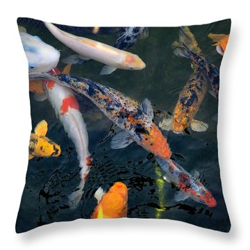Throw Pillow featuring the photograph Koi by Bob Wall