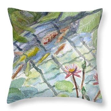 Koi Carp And Waterlilies. Throw Pillow